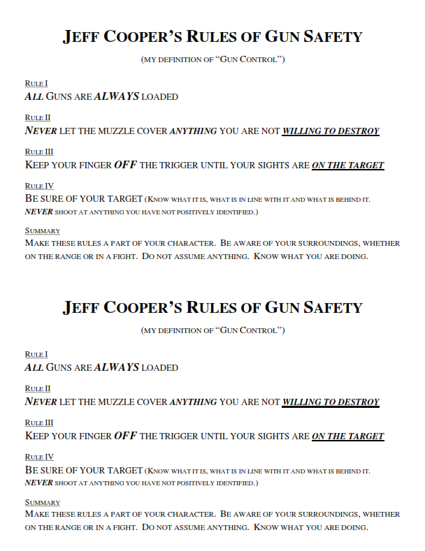 Jeff Cooper's 4 Rules of Gun Safety